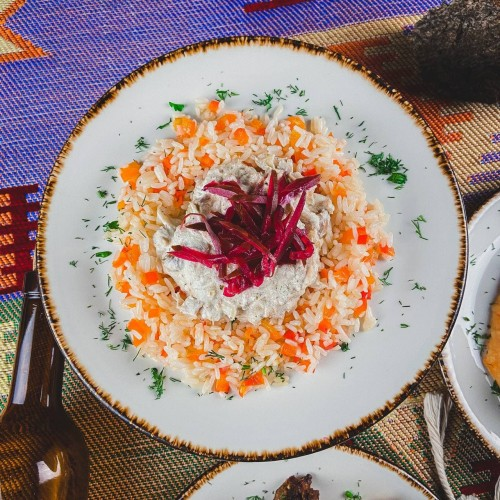 Чкмерули с рисом и овощами